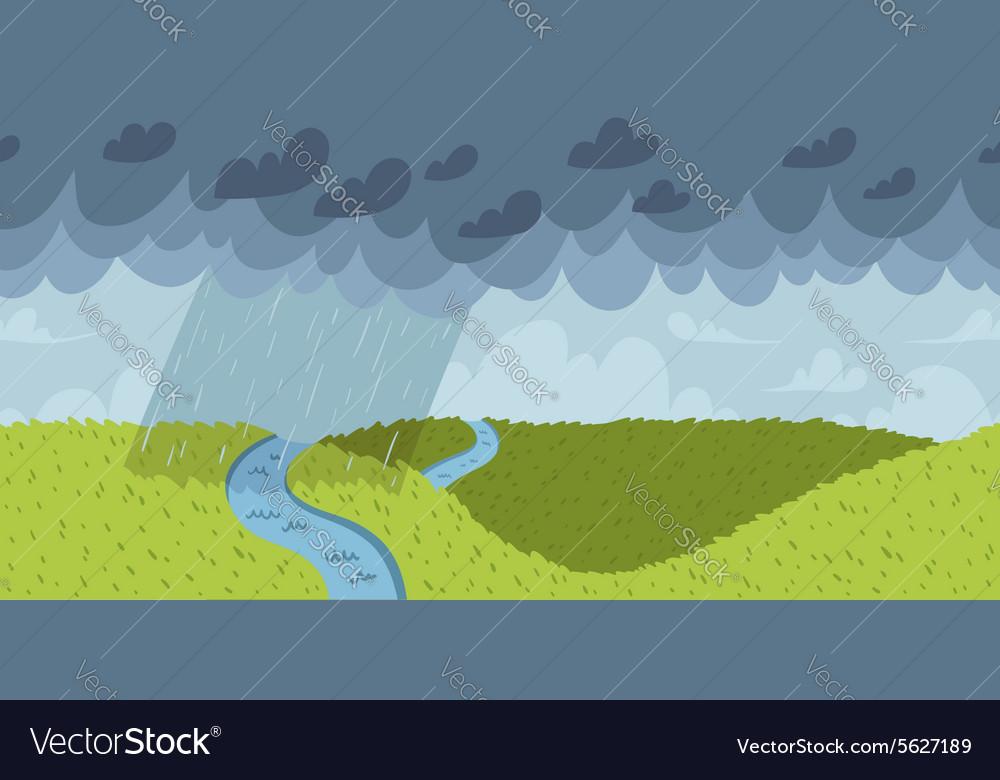 Rainy landscape seamless pattern