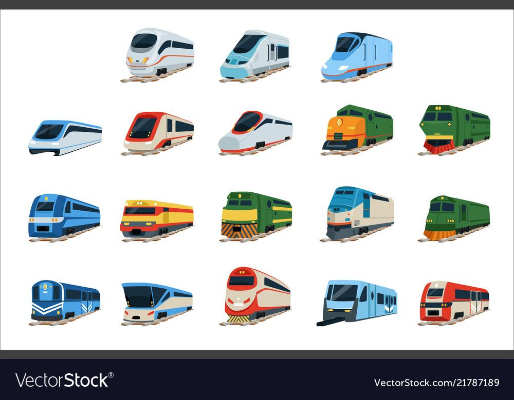 Retro and modern trains locomotive set railway