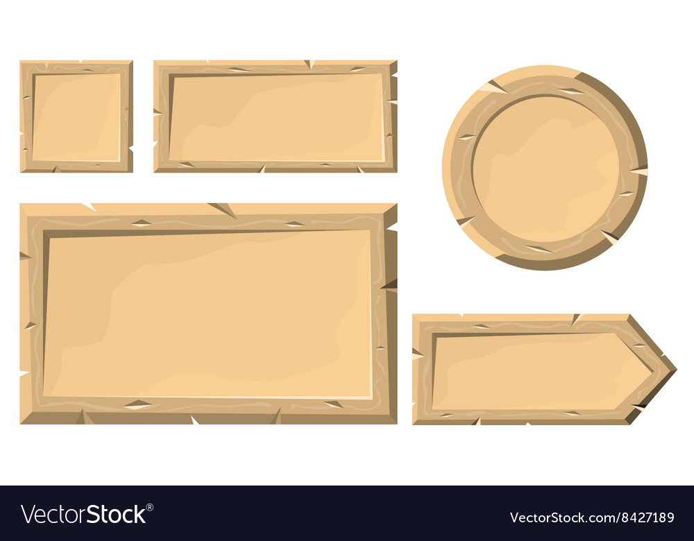 Set wooden plank banners or buttons in cartoon