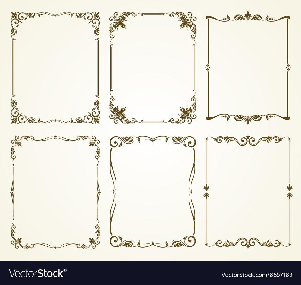 Vintage calligraphic frames set