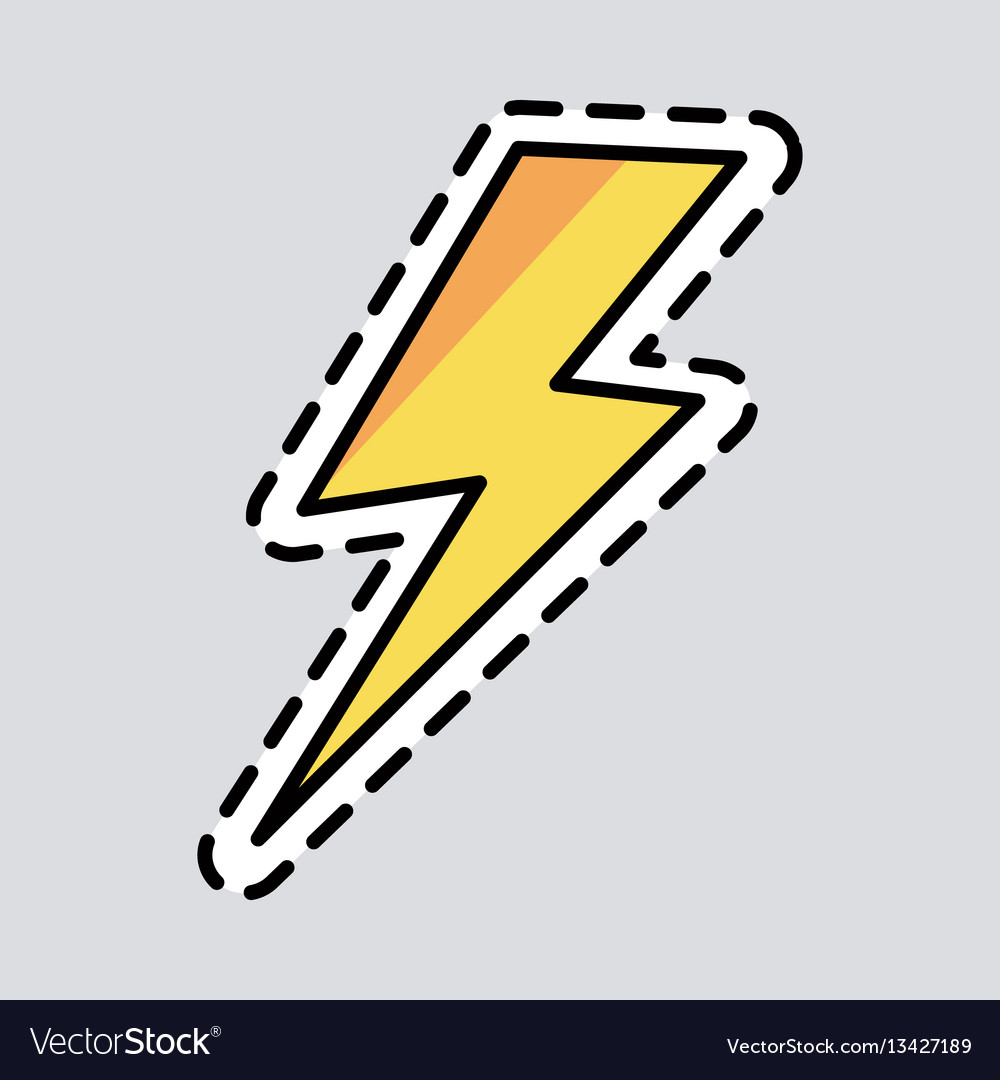 Yellow lightning icon cut it out patch energy