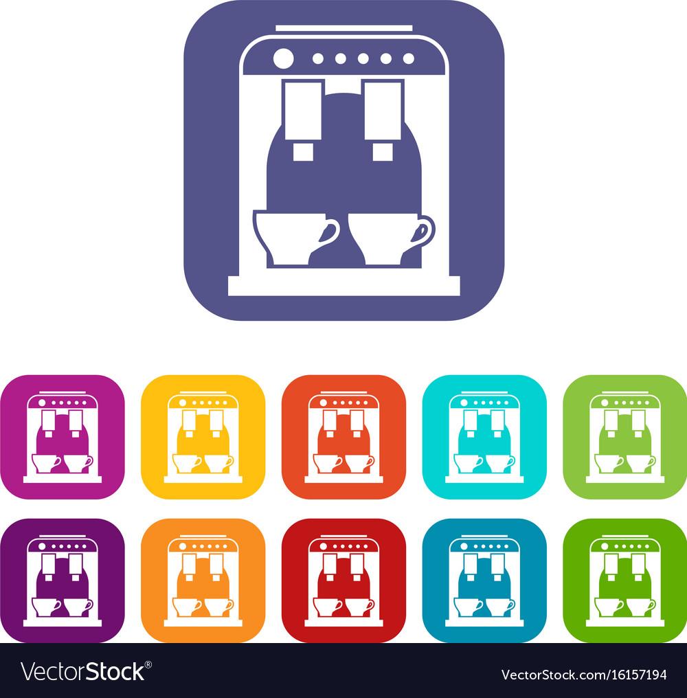 Coffee machine icons set