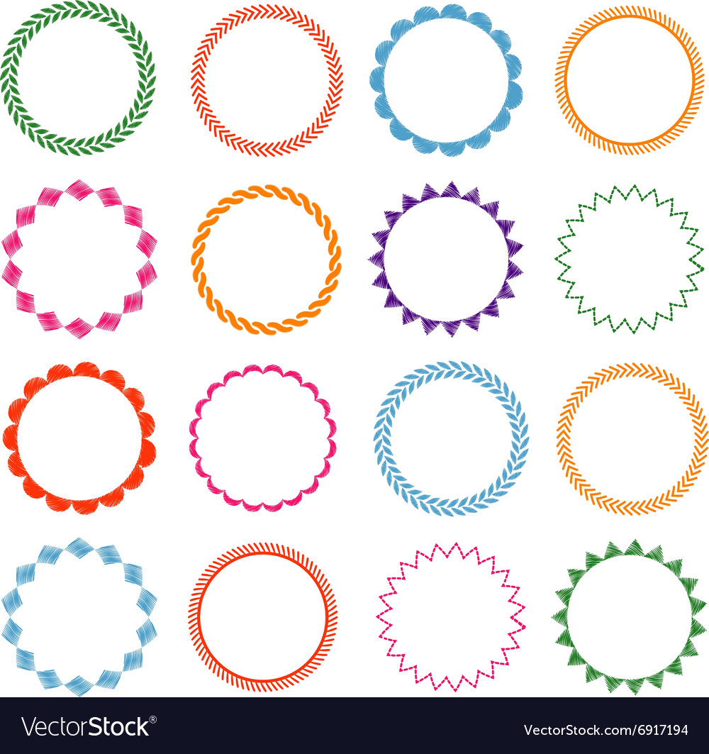 Embroidery stitches circle frames set