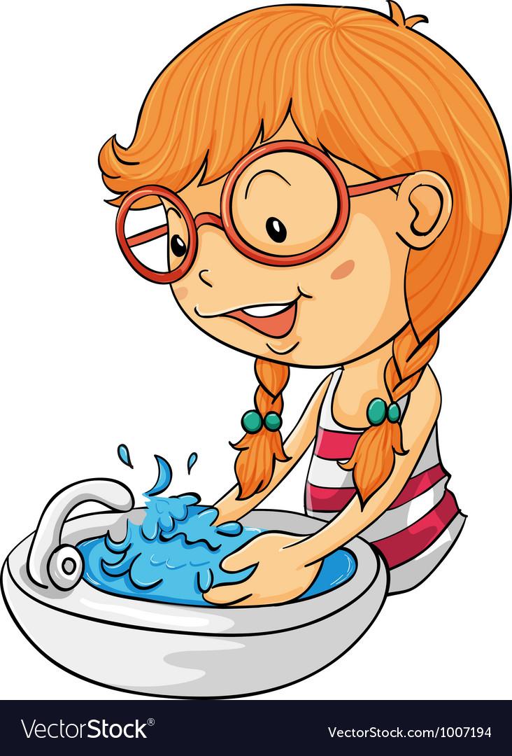 girl washing hands royalty free vector image vectorstock rh vectorstock com boy washing hands cartoon washing your hands cartoon