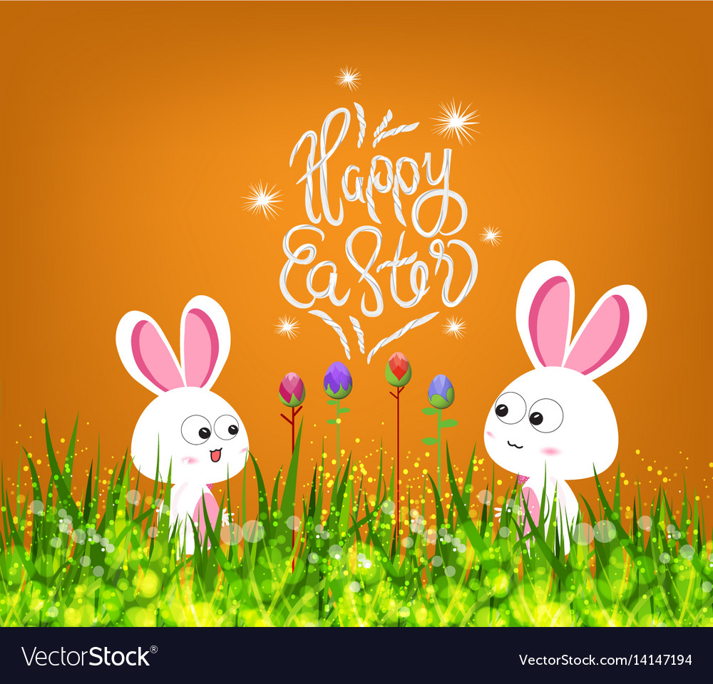 Happy easter eggs and bunny vector image