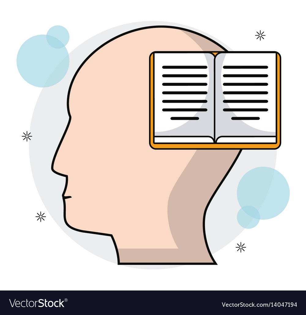 Head human profile book learning