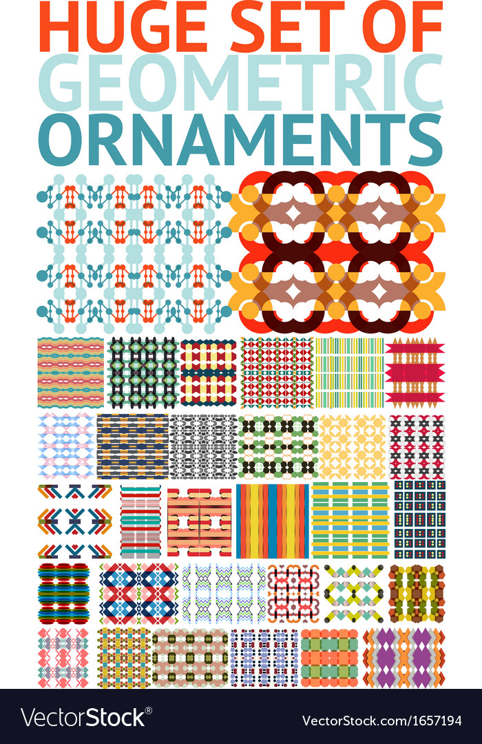 Huge set of abstract geometric ornaments patterns