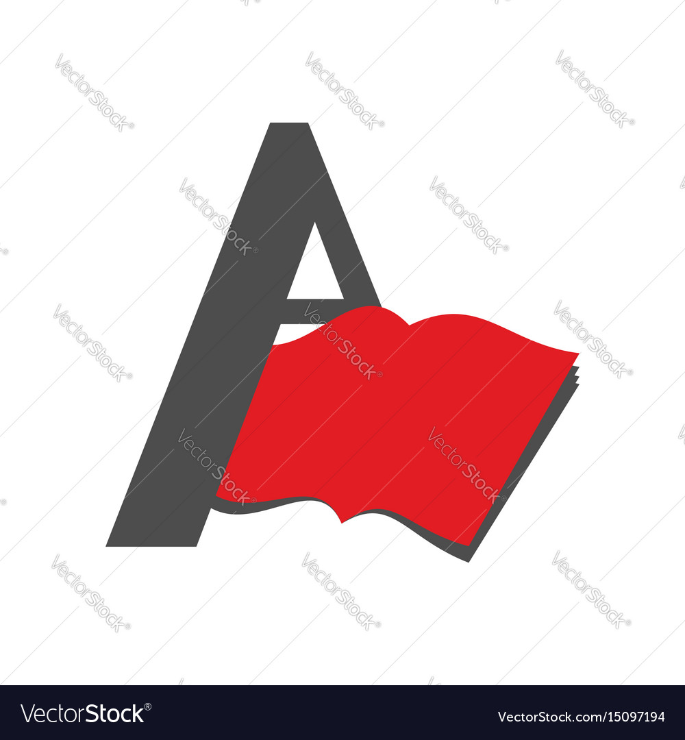 Letter a logo book emblem abstract sign for vector image