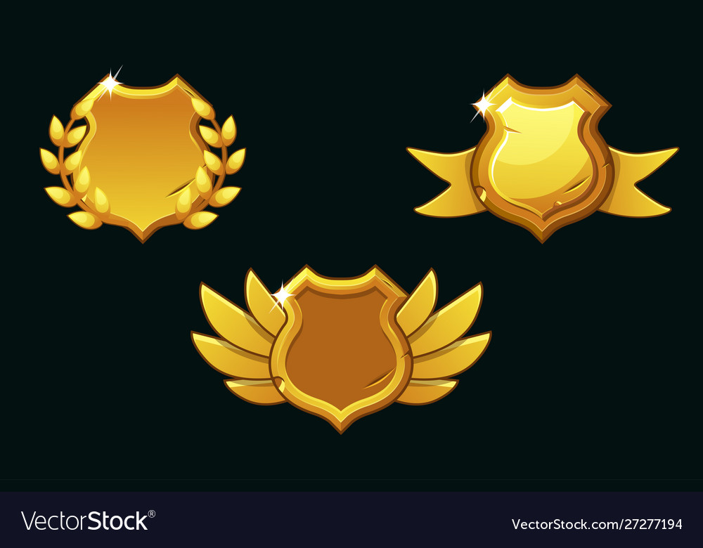 Medieval shields in gold color empty
