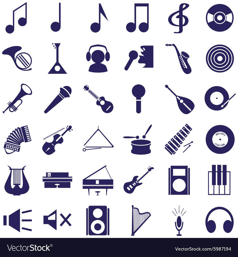 Musical instruments and sound icons on white