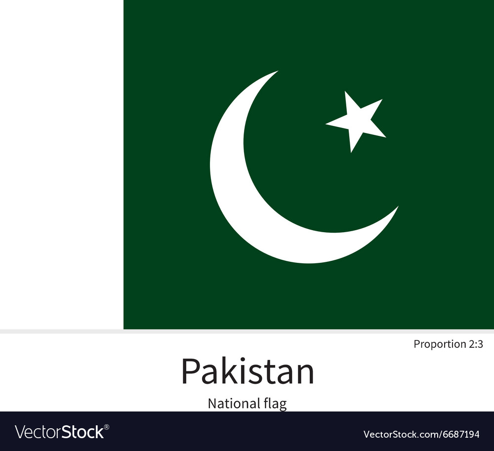 National flag of Pakistan with correct proportions