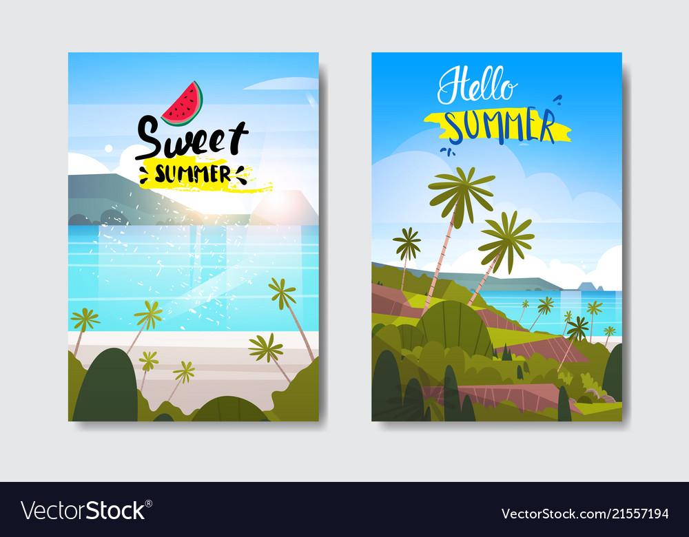 Set summer sunrise landscape tropical beach badge