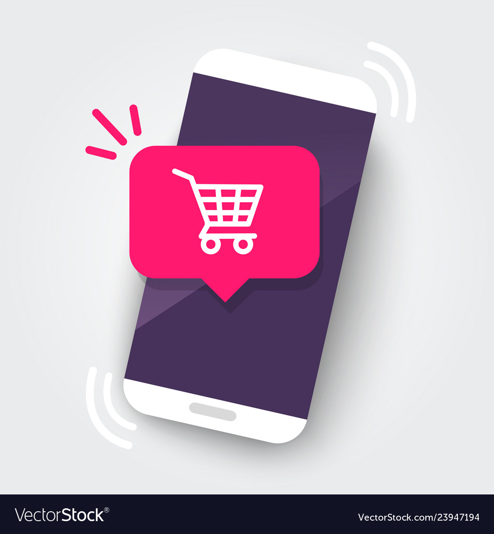 Smartphone with shopping cart notification