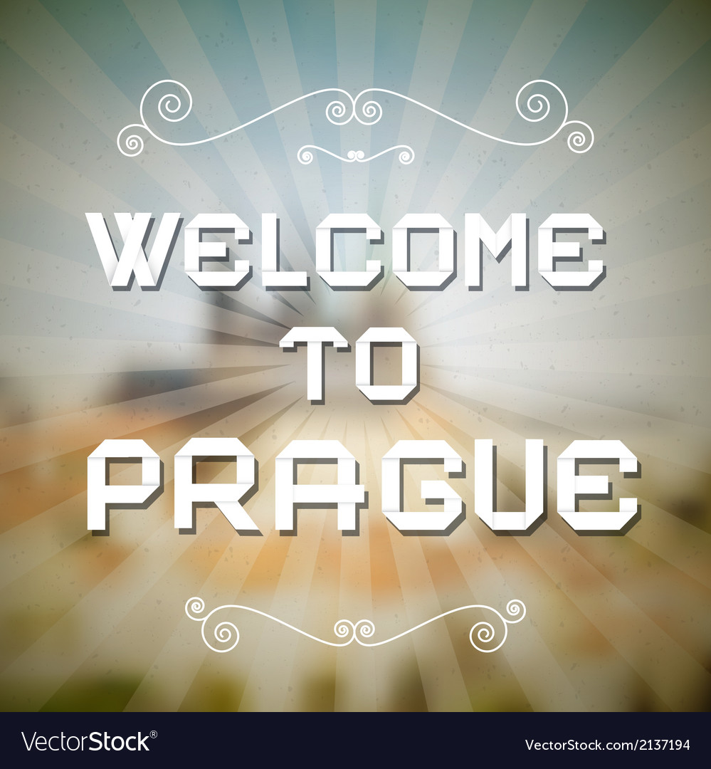 Welcome to Prague Paper Title on Retro Background