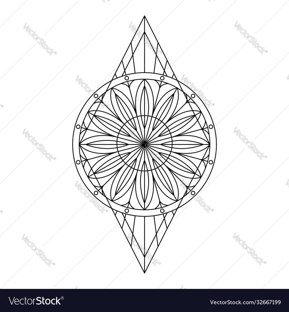 Black geometric symbol stylized floral pattern