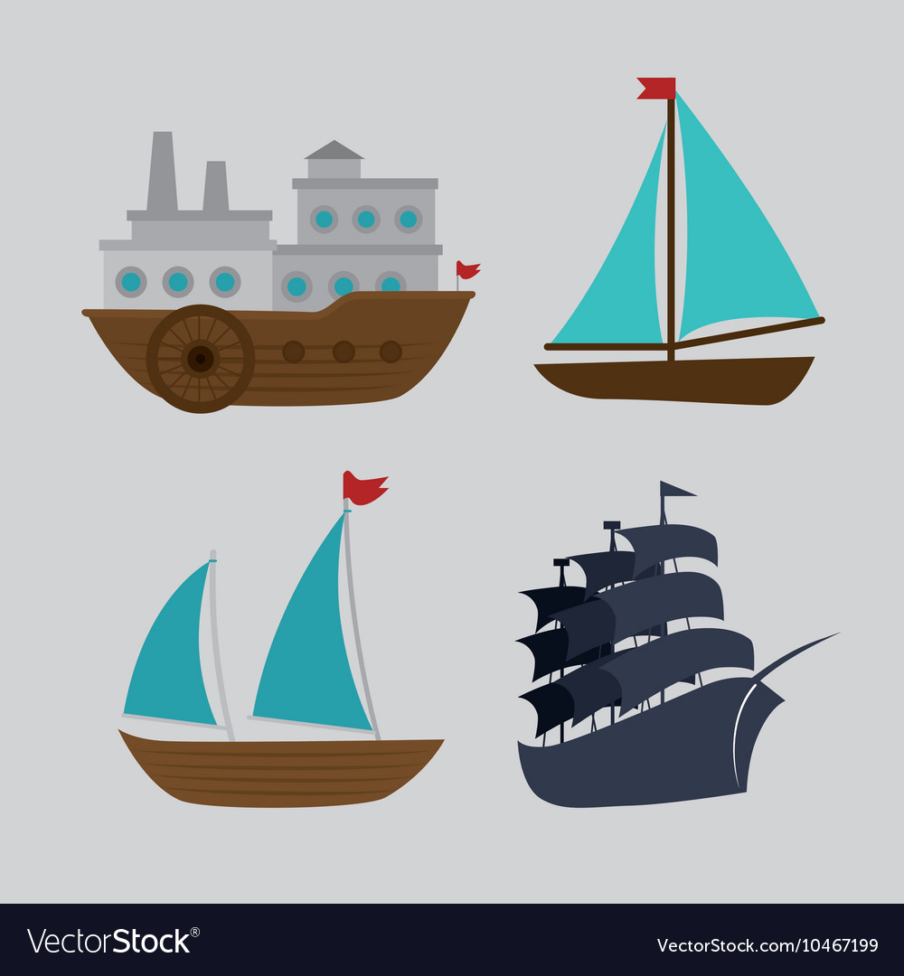 Boats styles set icon