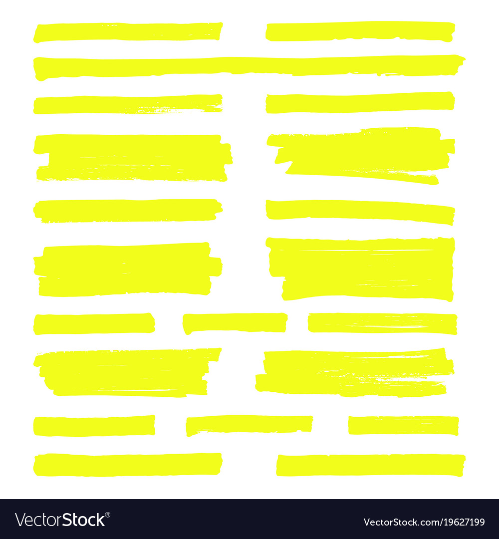 hand drawn yellow highlight marker lines vector image