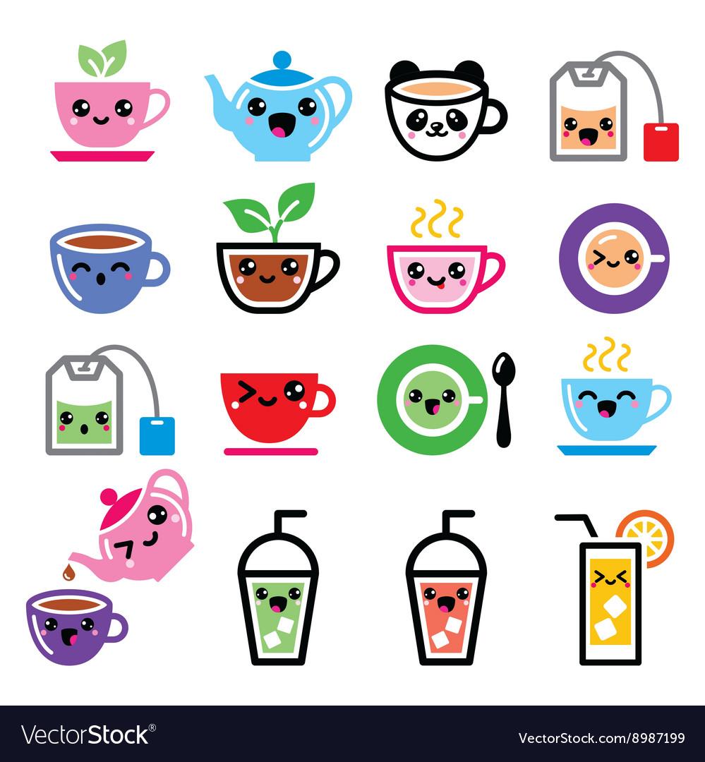 Kawaii tea tea pot ice tea cute characters