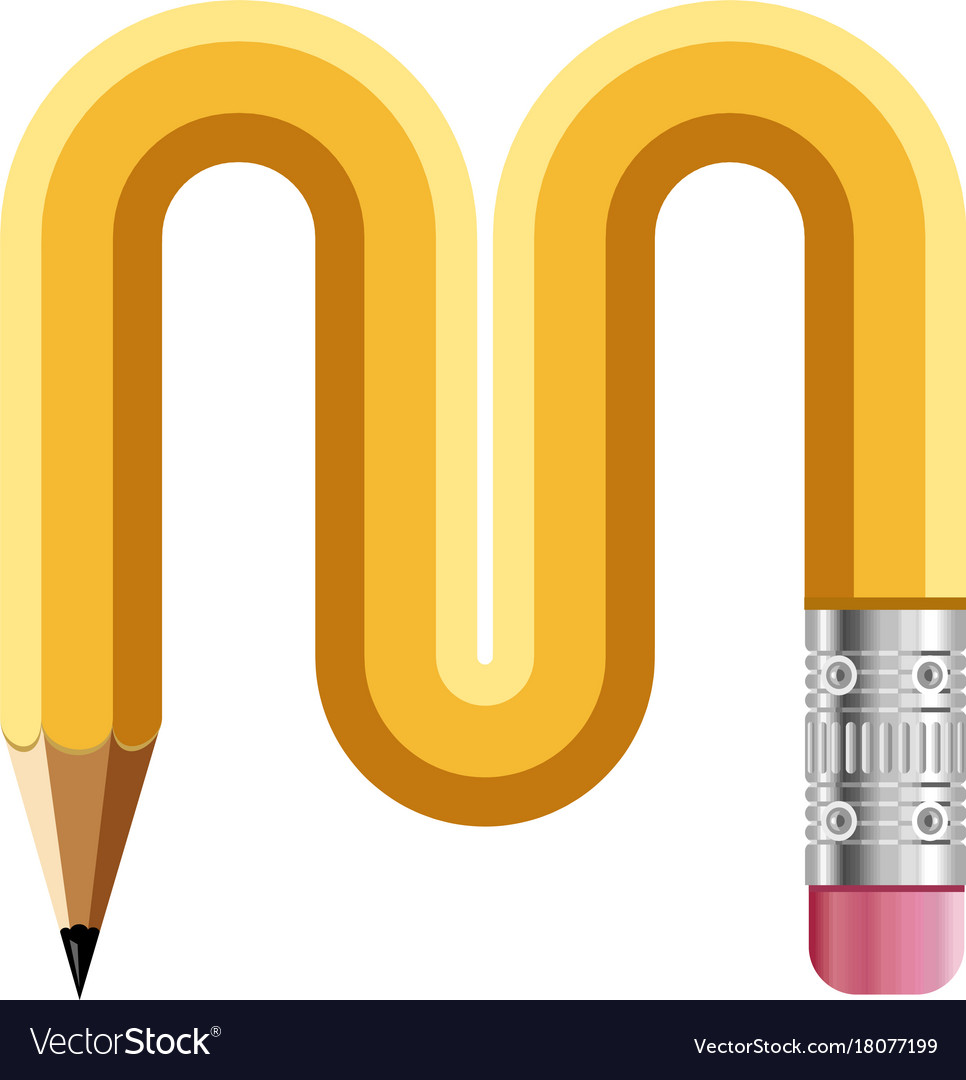 Letter M Pencil Read Icon Cartoon Style Vector Image