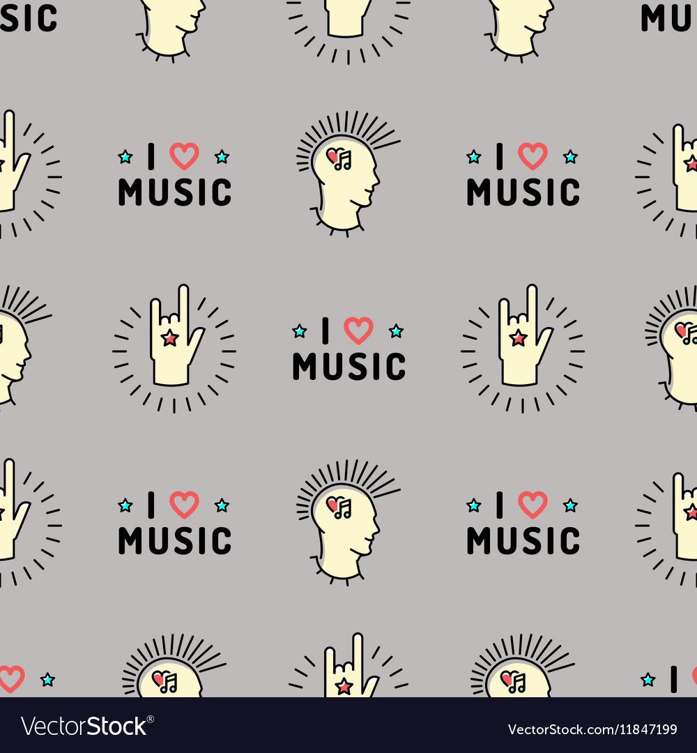 Music seamless pattern Punk Mohawk Rock Grunge