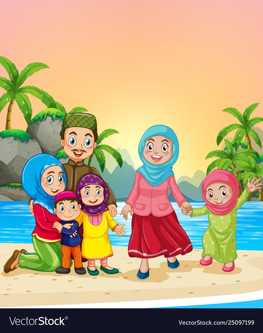 Muslim family at beach Royalty Free Vector Image