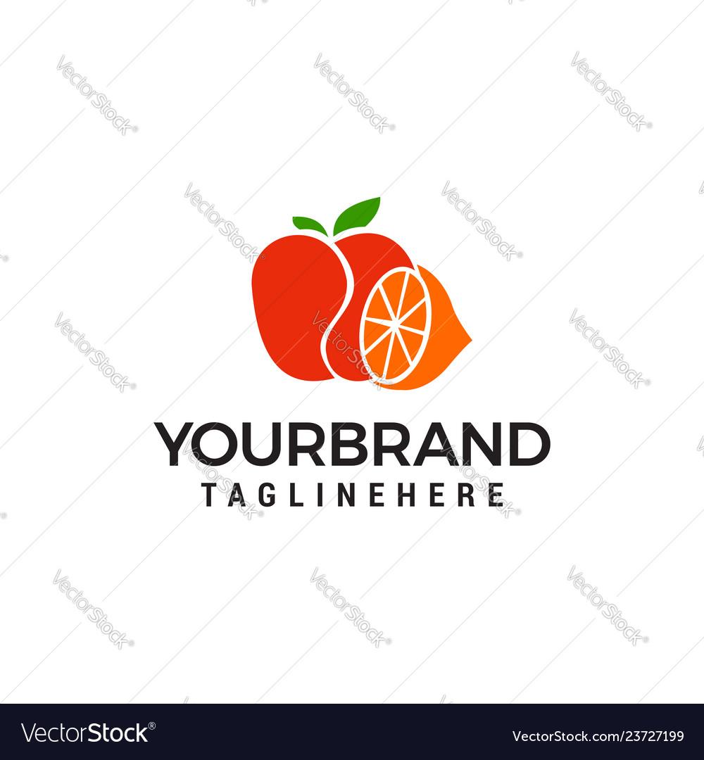 Orange apple logo template icon design