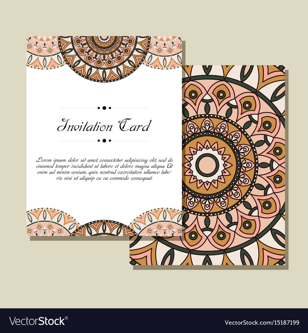 Retro card with mandala vintage background with