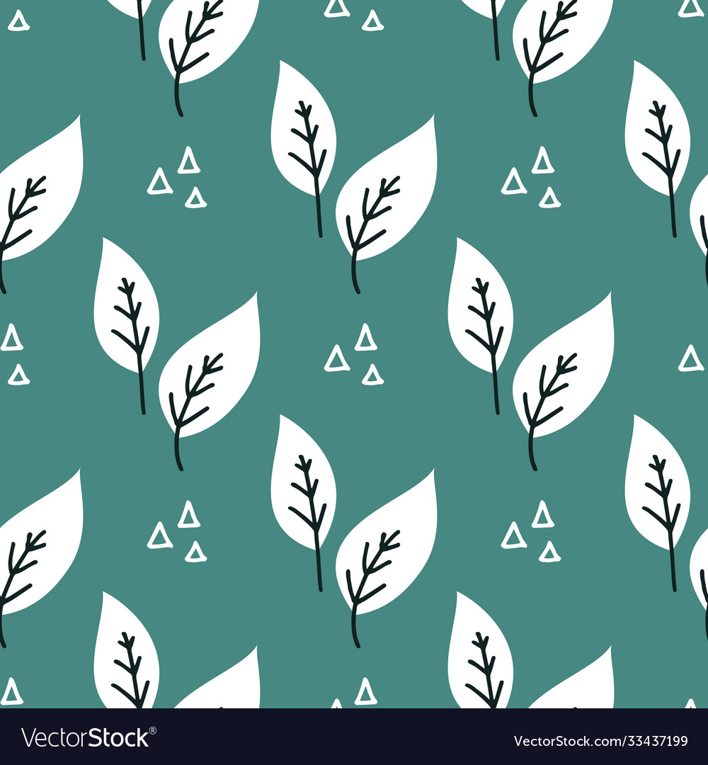 Seamless plant leaves pattern hand drawn
