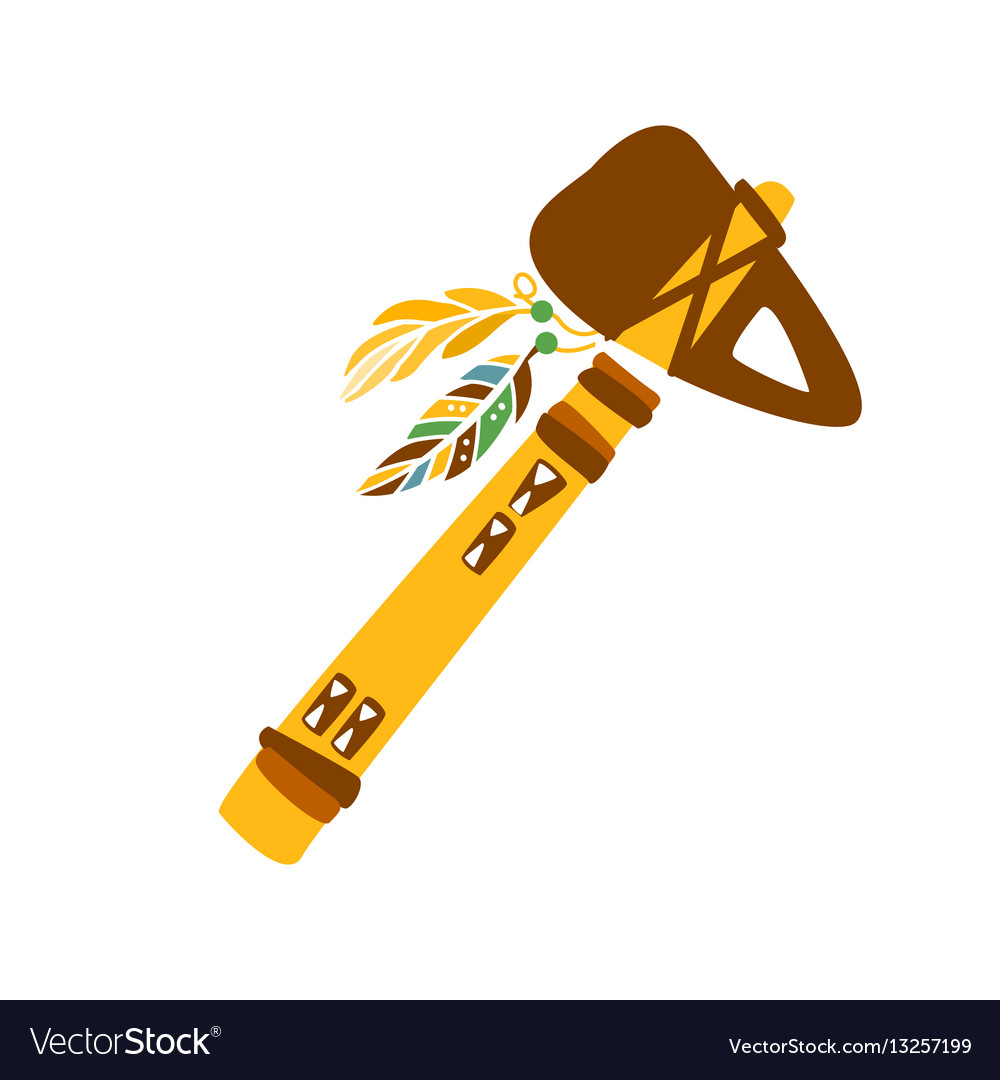 Tomahawk stone axe with feather decoration native vector image