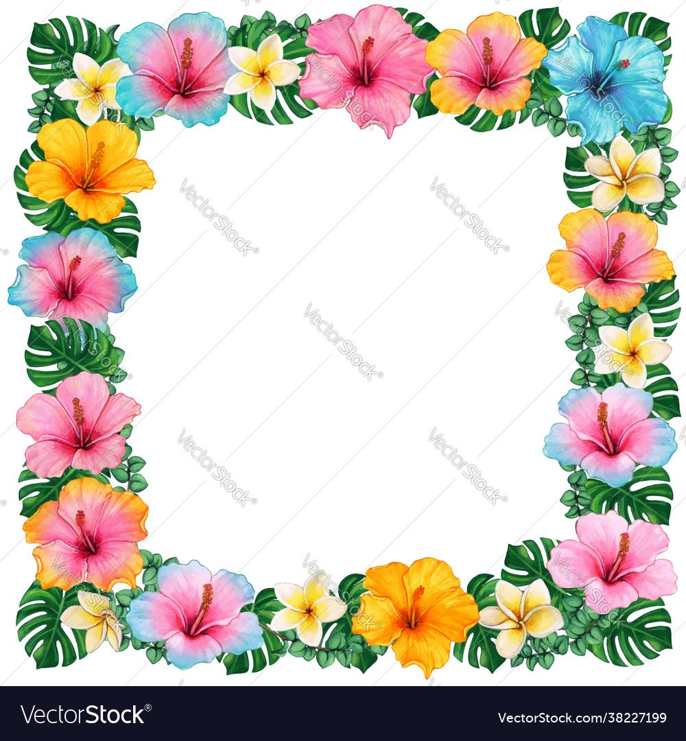 Watercolor colorful hibiscus and frangipani
