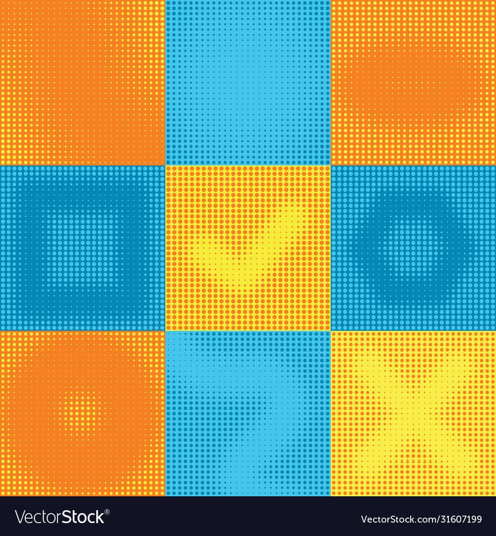 Yellow blue halftone gradient texture pop art