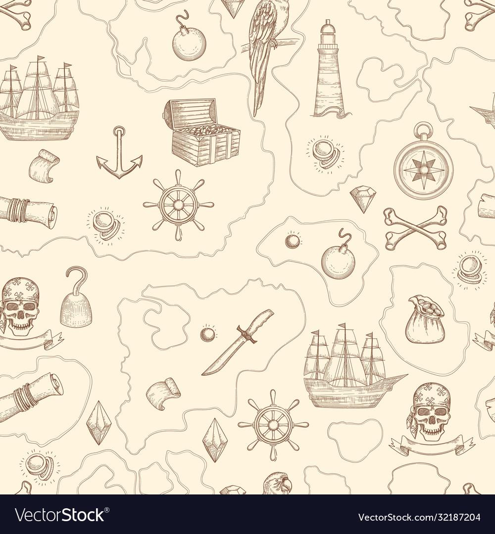 Pirate map seamless nautical vintage detailed