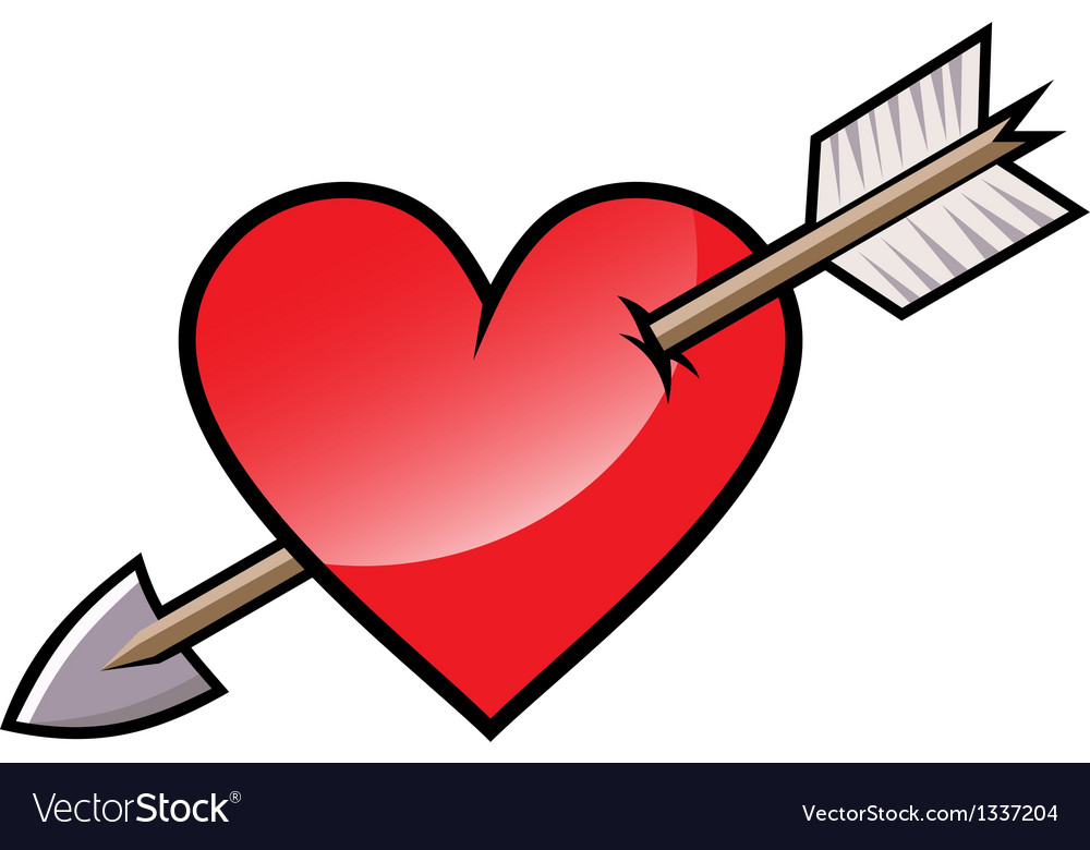 Red heart with arrow vector image