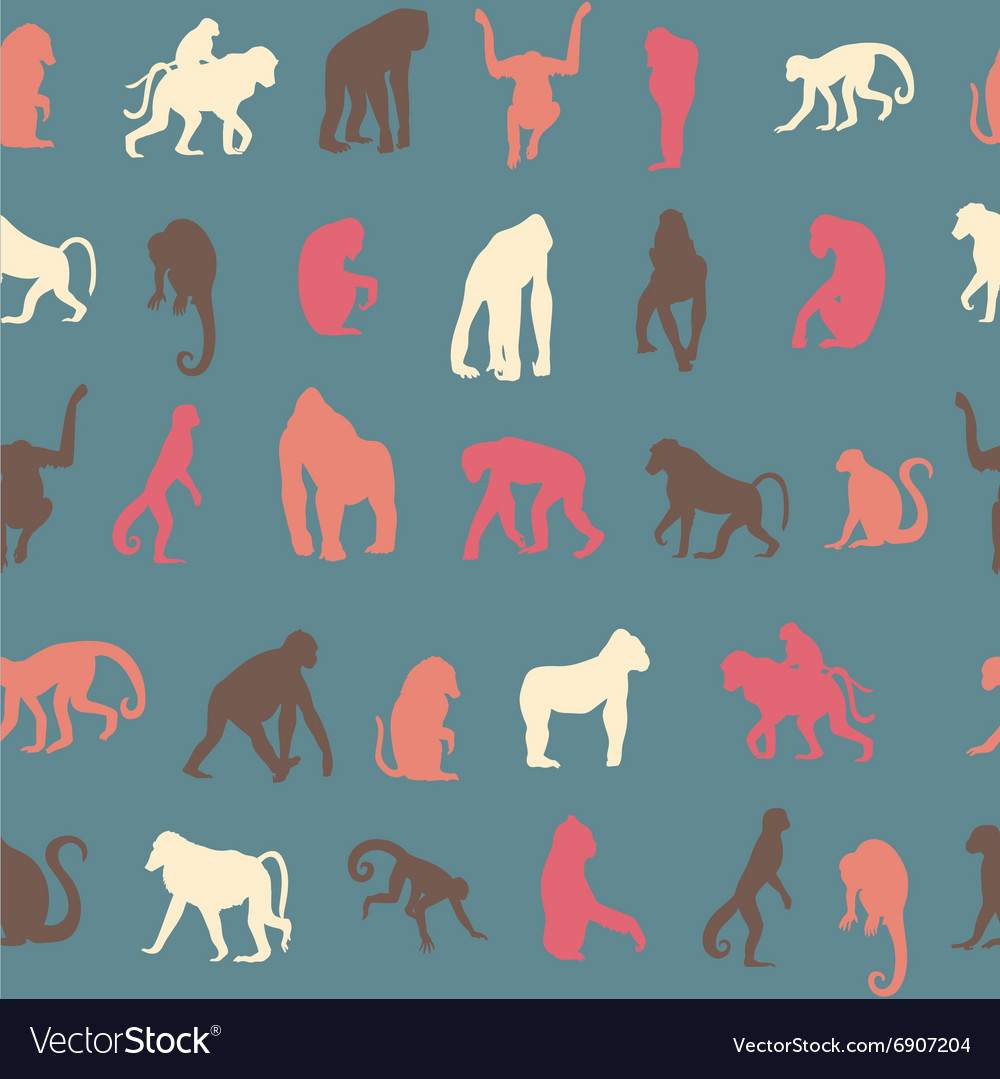 Seamless pattern background with monkeys