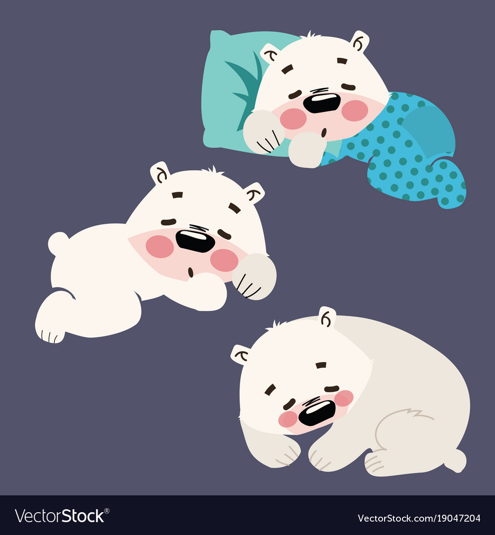 Set of sleeping polar bears collection of cartoon