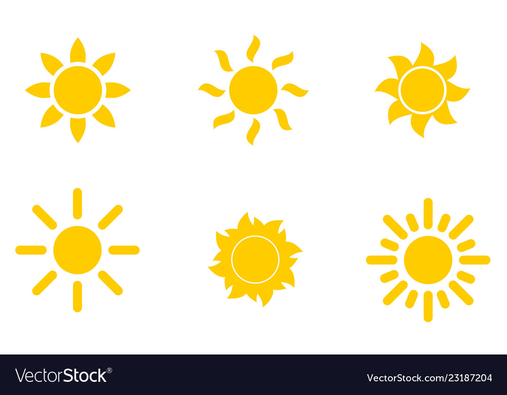 Set of yellow icons of the sun isolated on white