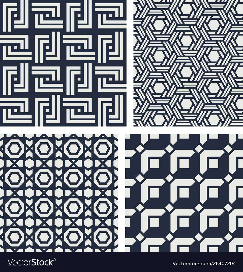 Set seamless patterns abstract geometric