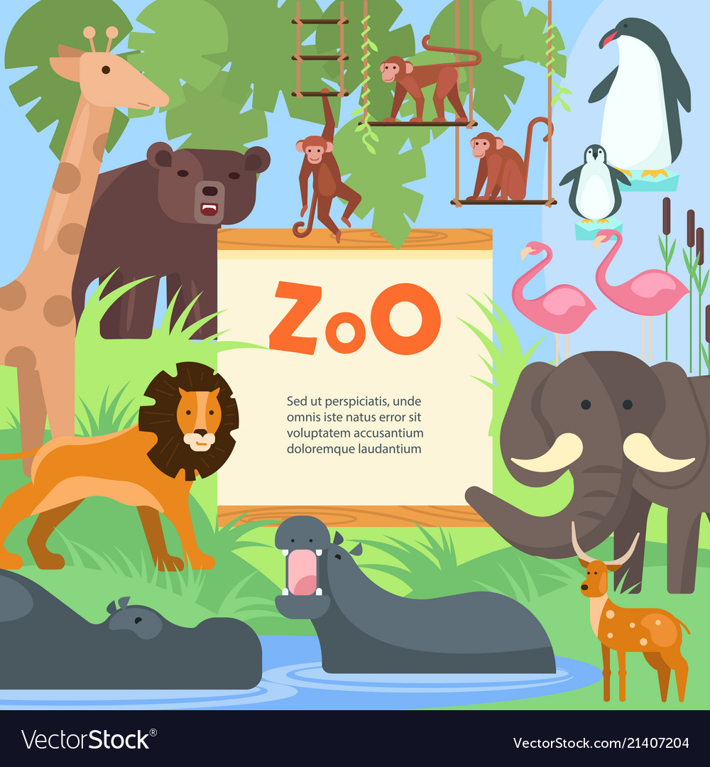 Zoo animals poster template