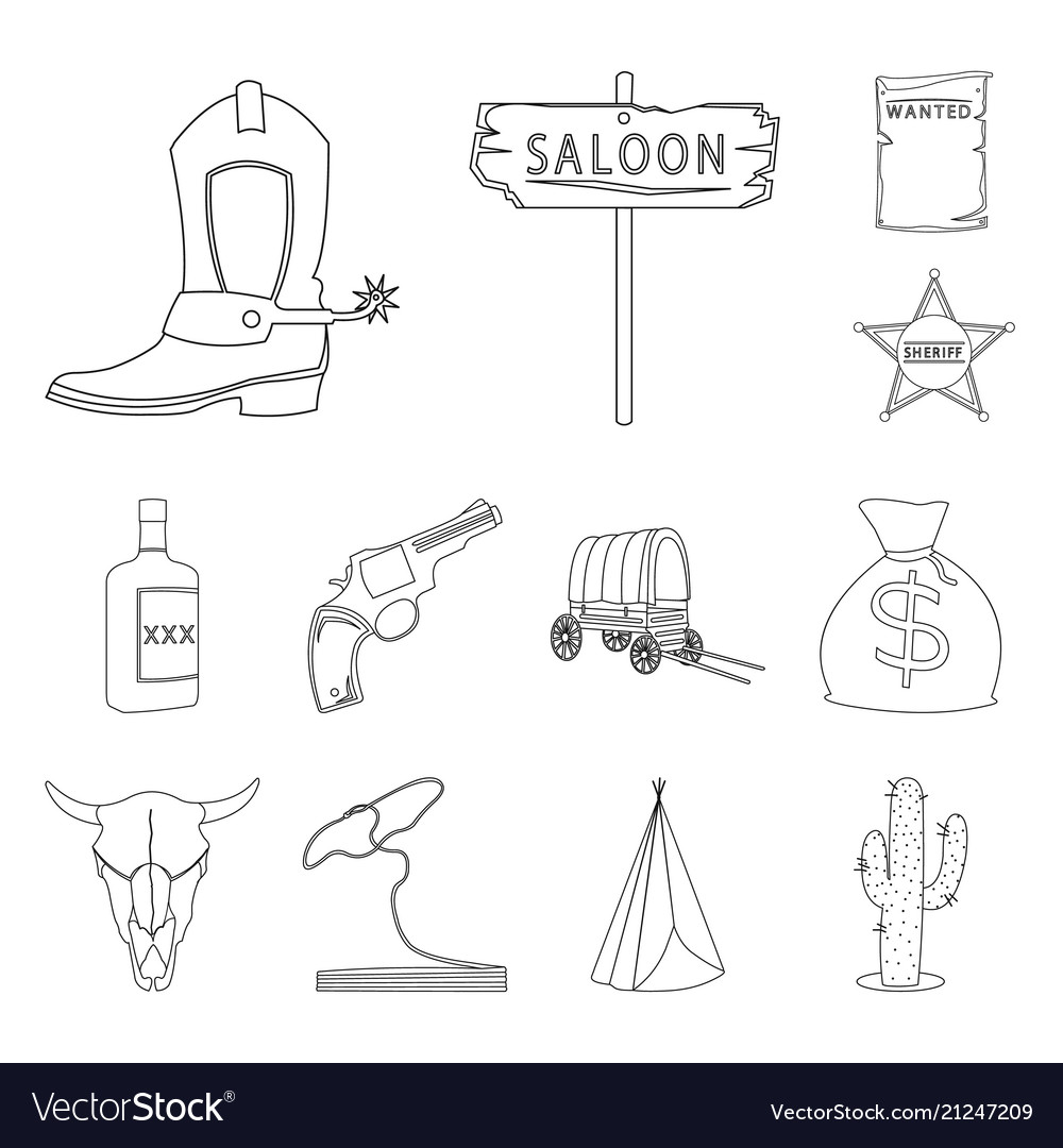 Attributes of the wild west outline icons in set
