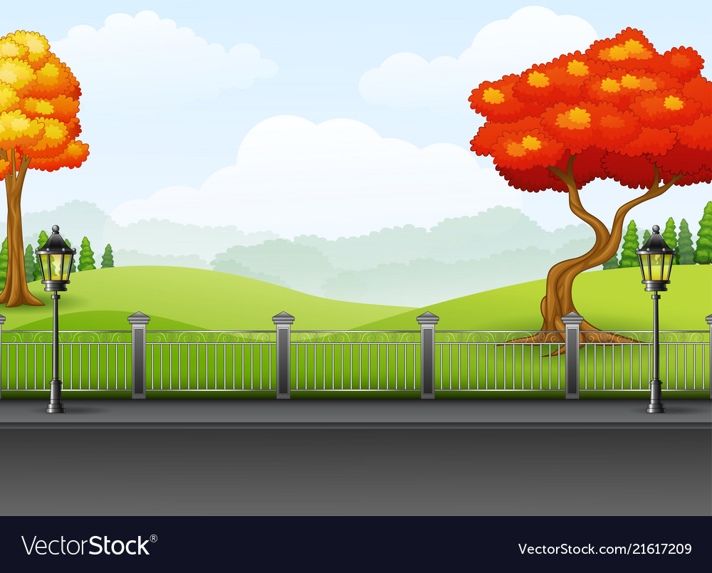 Autumn season with the road landscape background