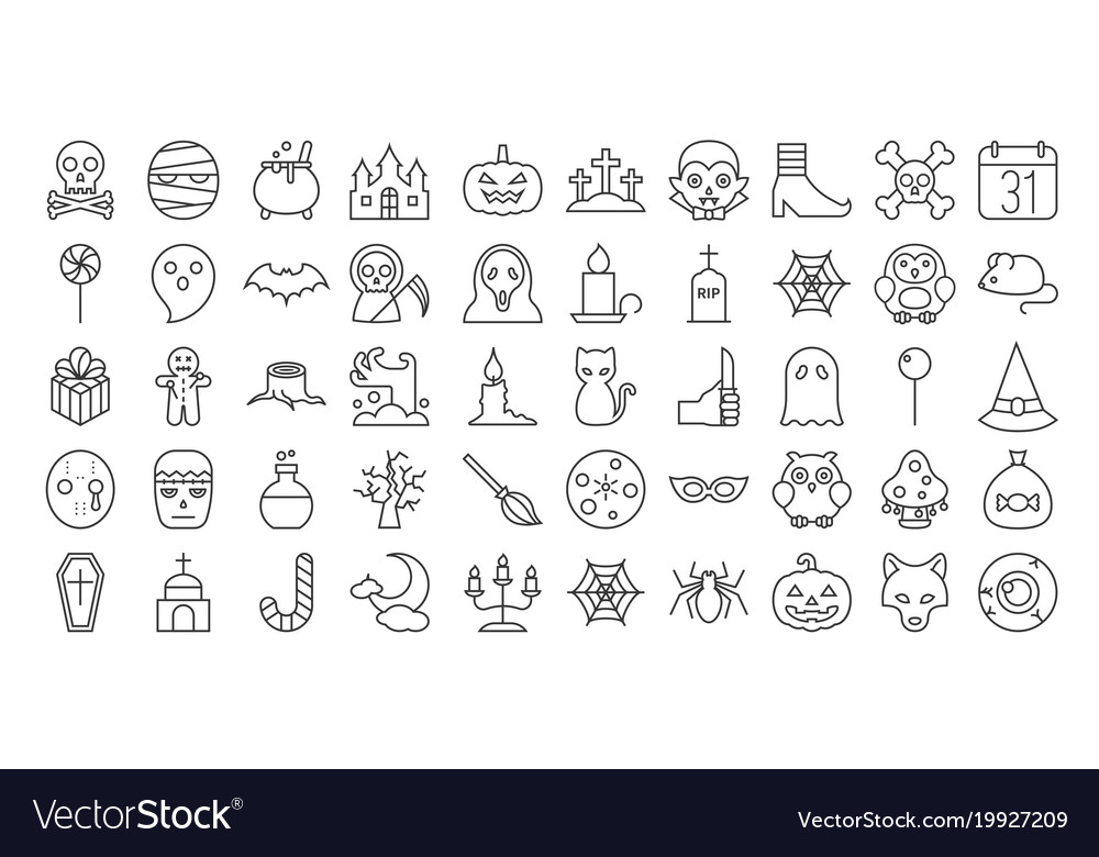 Big set of halloween outline icon
