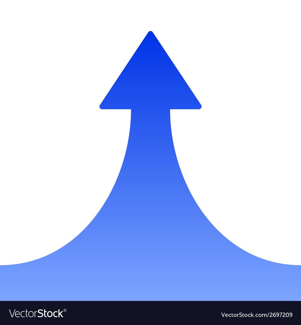 Blue Rising Arrow on White Background
