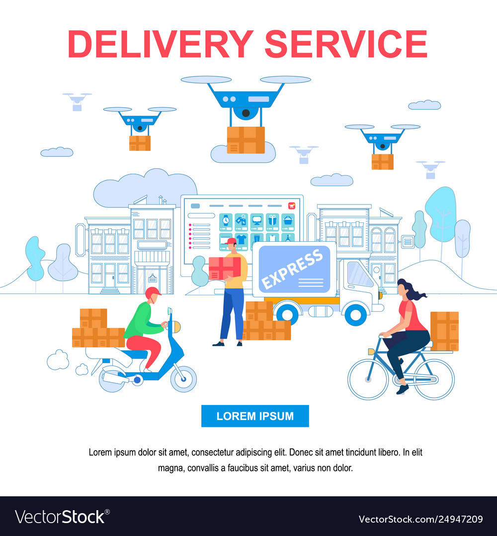 Delivery service square banner with copy space