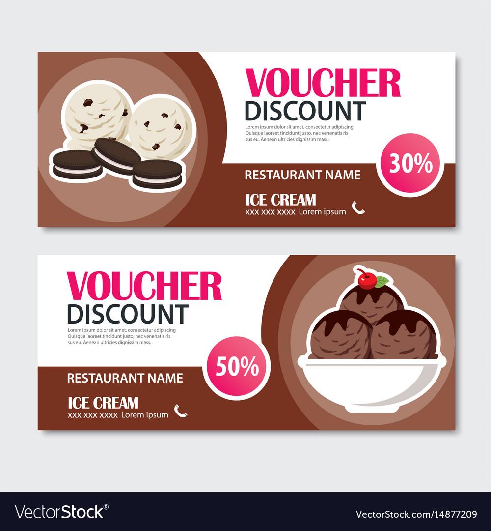 Discount voucher set of ice cream template design