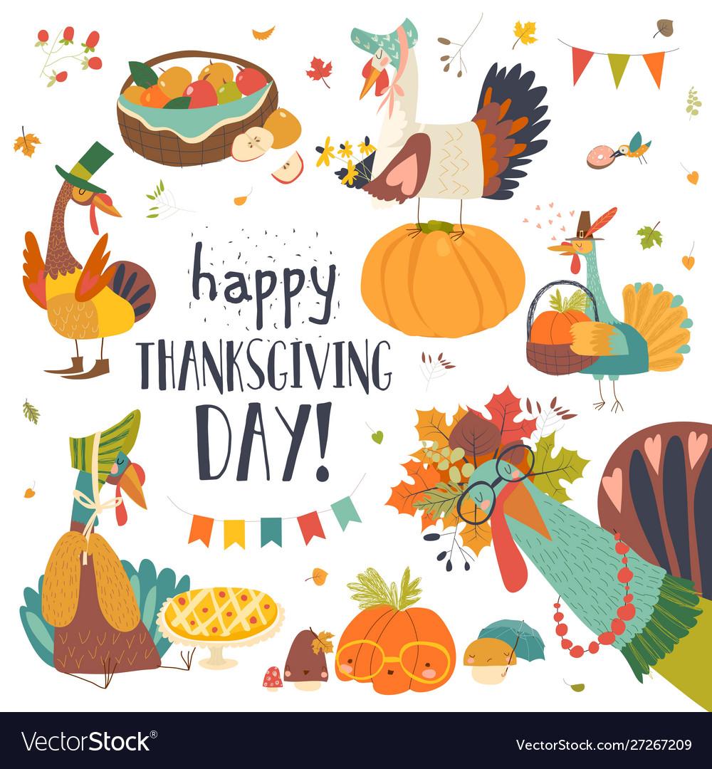 Funny turkeys with thanksgiving theme on white