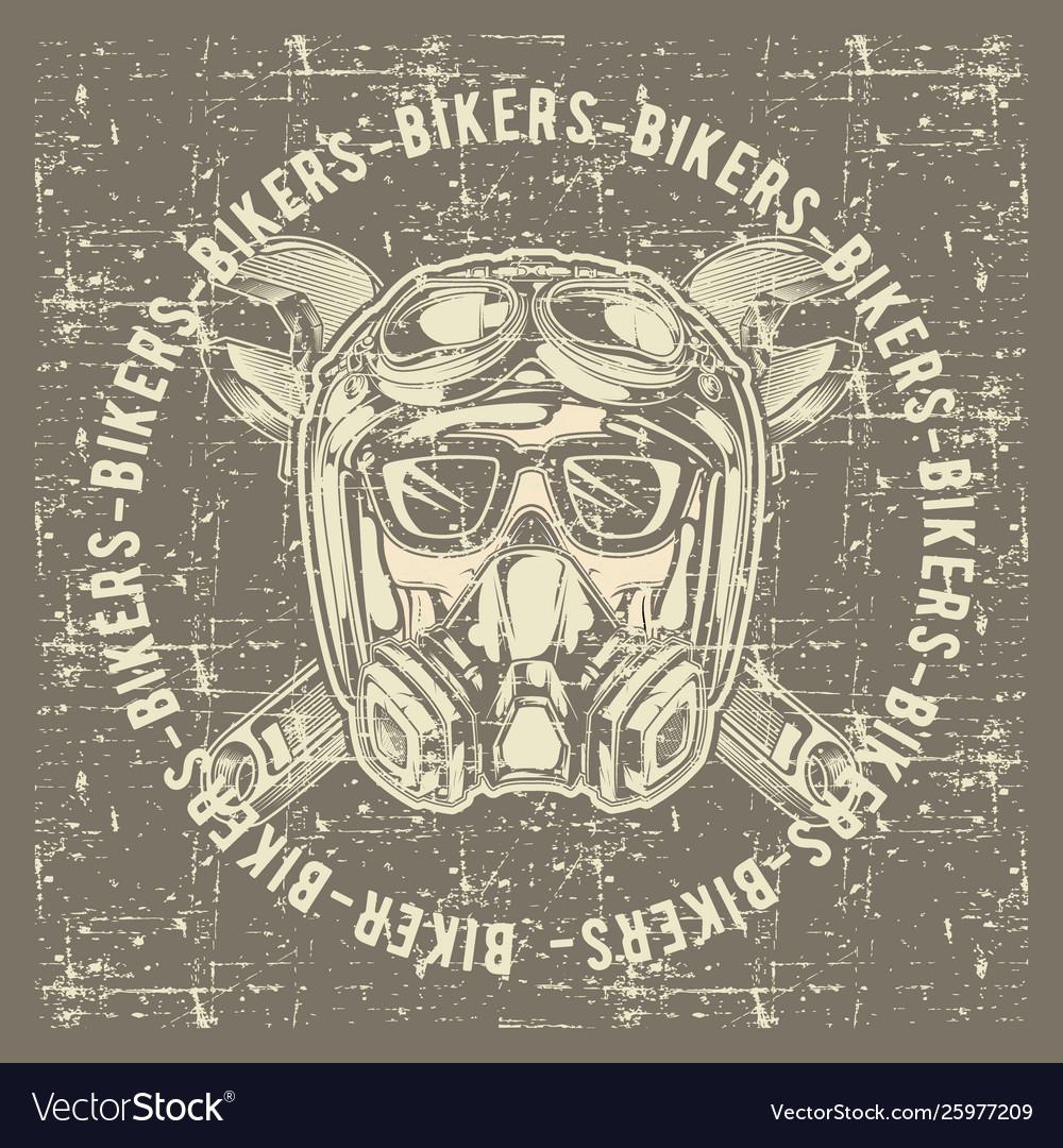 Grunge style vintage skull skull bikers wearing