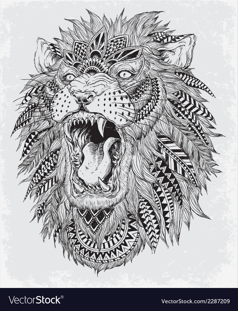 Hand Drawn Abstract Lion vector image