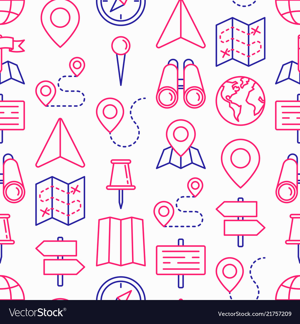 Location seamless pattern with thin line icons