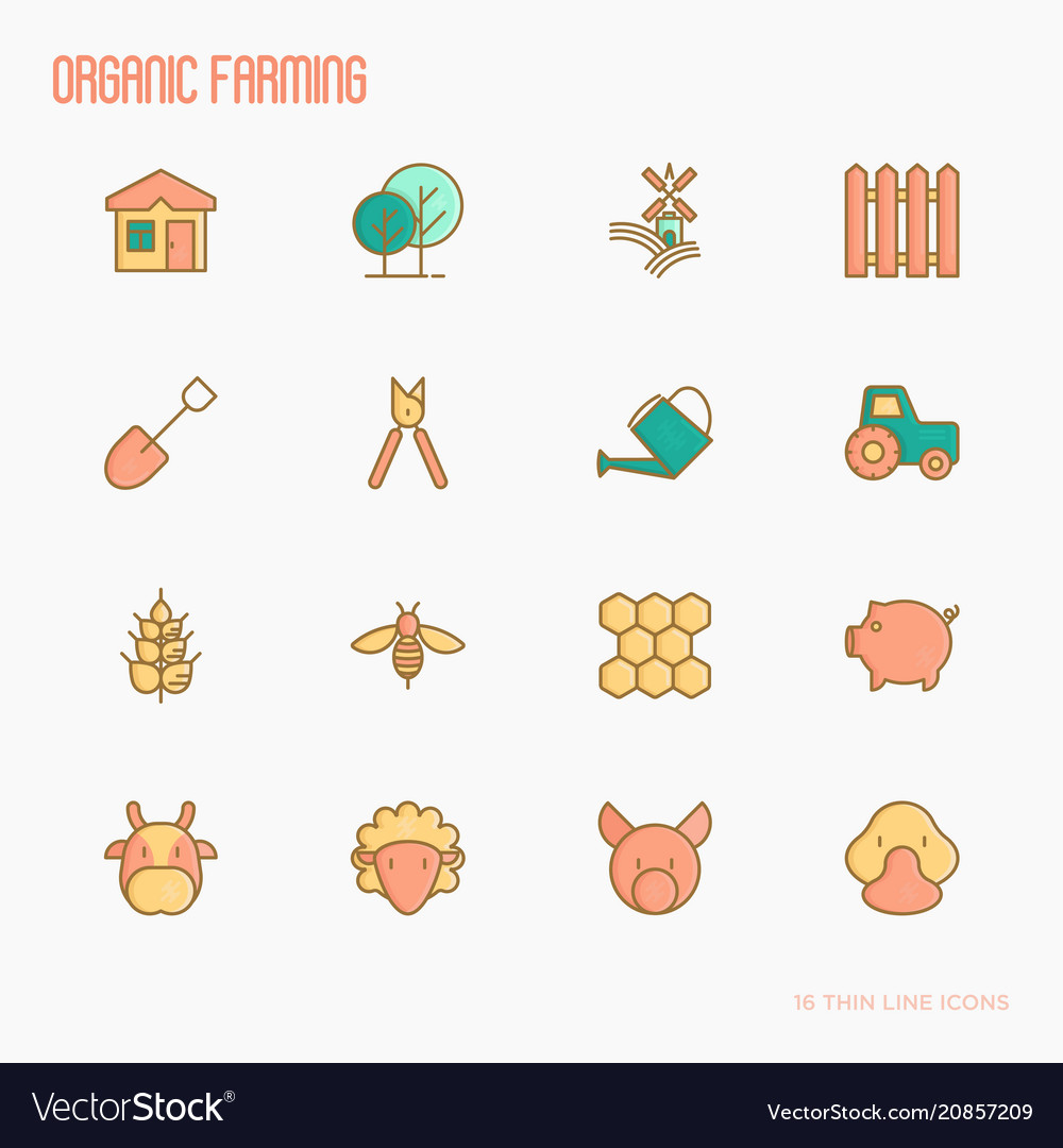 Organic farming thin line icons set
