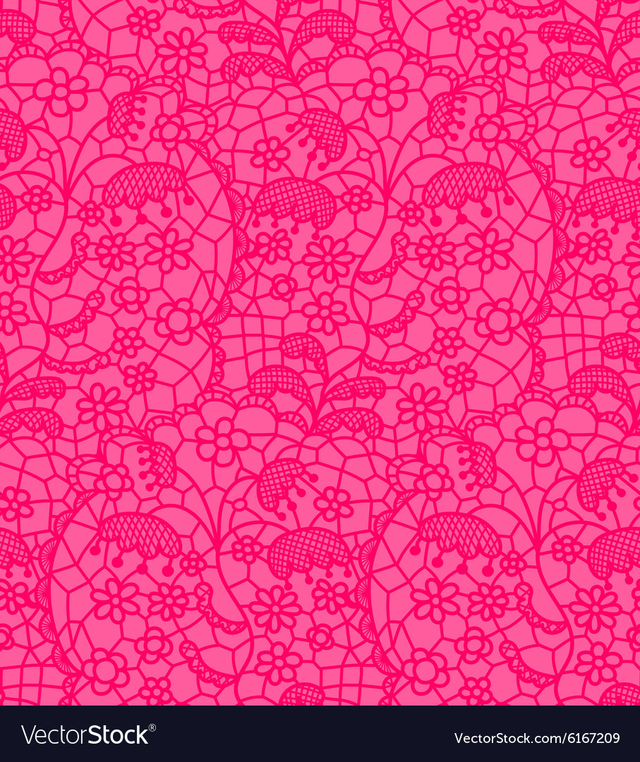 Pink lace fabric seamless pattern